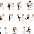 Set of wedding pictures — Stock Vector