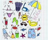 Set di icone di spiaggia, i bambini di disegno — Vettoriale Stock