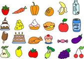 Set of children's icons of food for training — Stock Vector
