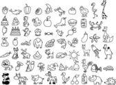 动物、 食品、 白色和黑色背景的卡通图标 — 图库矢量图片