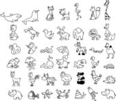 Set of children's icons of animal , white and black background — Vecteur