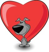 Cute puppy keeps heart — Stockvector