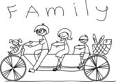 Child's drawing of the family on a bicycle, vector — Stock Vector