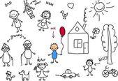 幸せな家族の子供の描画、ベクトル — ストックベクタ