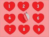 Nio hjärtan på papper — Stockvektor
