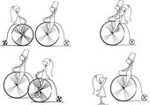 Vector set of bride and groom riding a bike — Vettoriale Stock