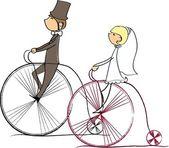 Hochzeit bild, braut und bräutigam fahrt fahrräder, vektor — Stockvektor