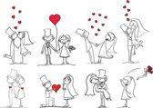 Bruiloft foto's, bruid en bruidegom — Stockvector
