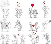 Set of wedding pictures, bride and groom in love, the vector — Vector de stock