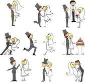 Cartoon wedding pictures — Stock Vector