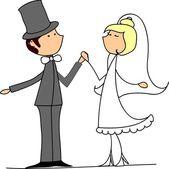 Wedding cartoon bride and groom — Stock Vector