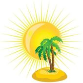 Vector tree and the sun — Stock Vector