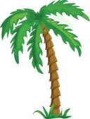 Vector tropical palm trees isolated on white background illustration — Stock Vector