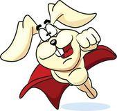 Super bunny flies in the red cloak — Stock Vector