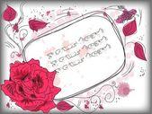 Grunge 帧与抽象花卉背景背景 — 图库矢量图片