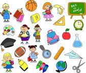 Cute schoolboys and schoolgirls, School elements, — Stock Vector
