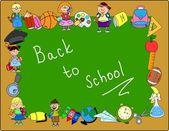 Cute schoolboys and schoolgirls, School elements, the frame — Stock Vector
