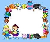 Cute schoolboys and schoolgirls, School elements,frame — Stock Vector