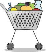 Shopping cart kompletta produkter från stormarknaden — Stockvektor