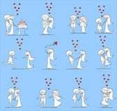 Set of wedding pictures, bride and groom in love, the vector — ストックベクタ