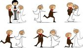 Bröllopsbilder, bruden och brudgummen i kärlek, vektorn — Stockvektor