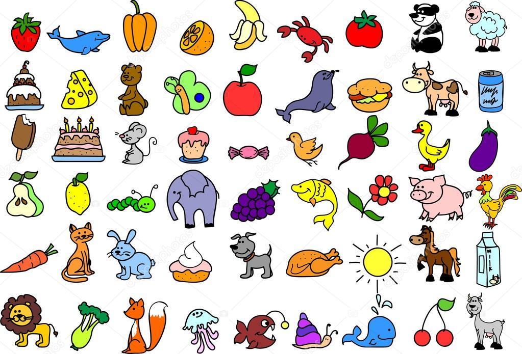 Icone dei cartoni animati di animali cibo — vettoriali