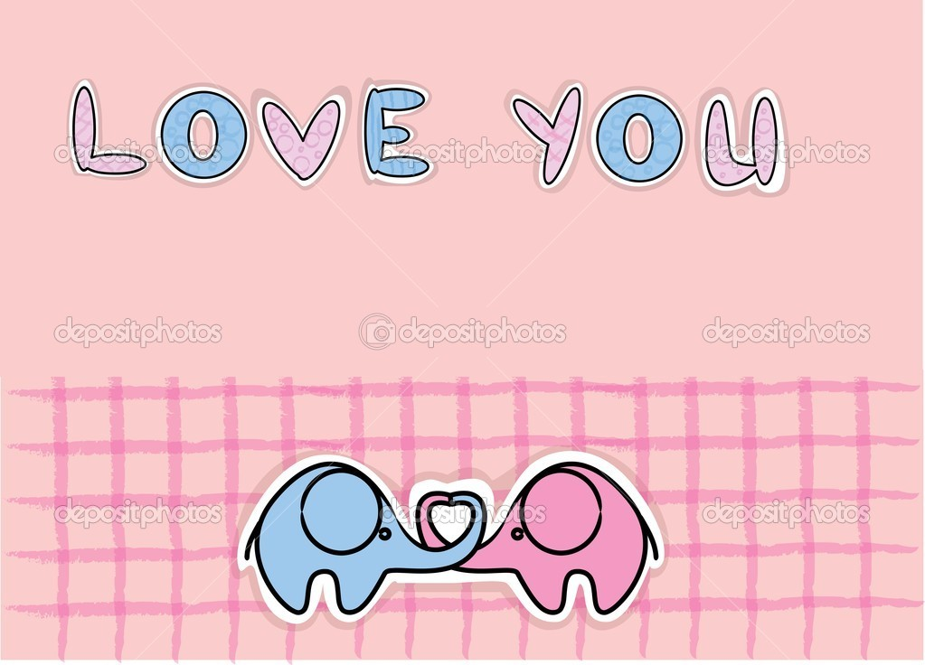Cute love elephants, vector — Stock Vector #13880694