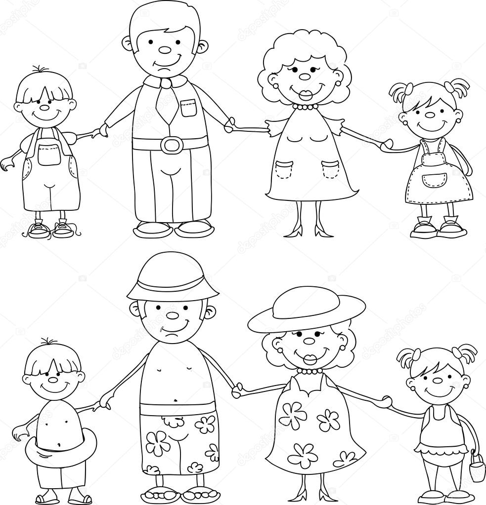 Happy Family Holding Hands Black And White Coloring