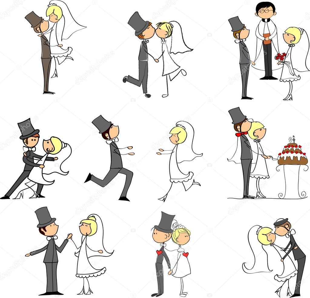 Cartoon wedding pictures stock illustration