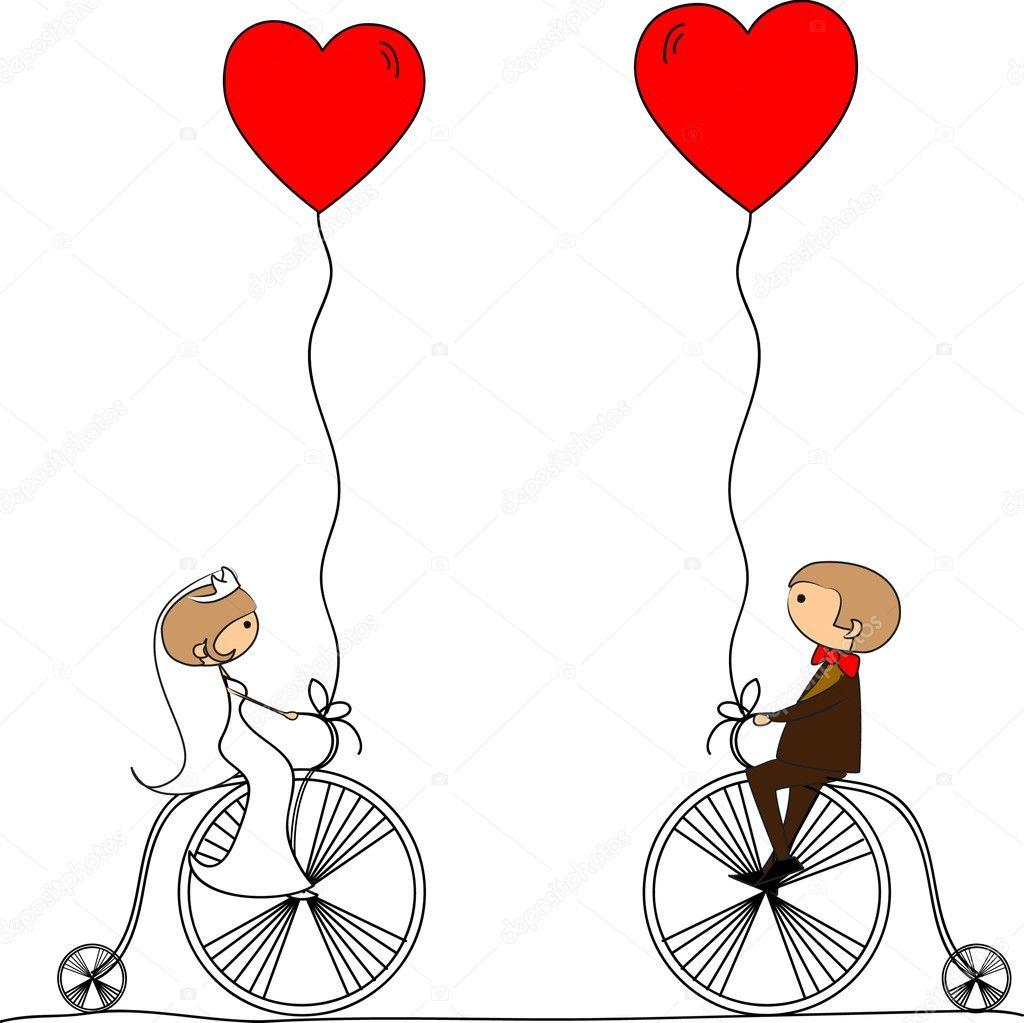 Cartoon wedding picture - Stock Illustration