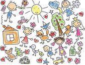 Childrens drawings — Stockvector
