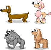 Set cartoon dogs of different breeds — Stock Vector