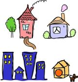 Art houses for your design — Stock Vector