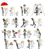 Fotos do casamento dos desenhos animados — Vetor de Stock