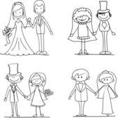 Set of wedding pictures — Stock Vector