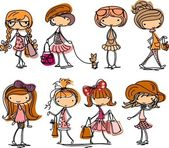 Set of girls fashion — Stockvector