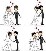 Conjunto de fotos de casamento, noiva e noivo apaixonado, o vetor — Vetorial Stock