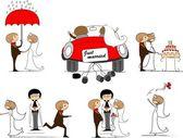 Cartoon bruiloft foto 's — Stockvector