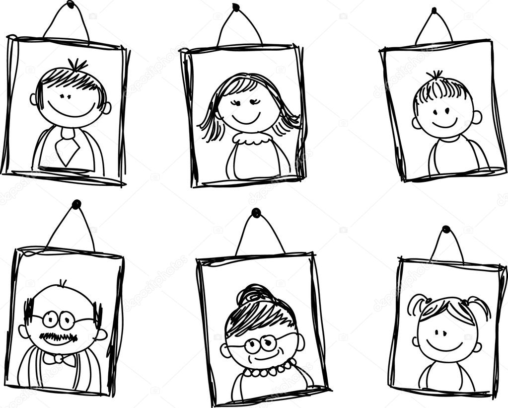 Portraits Of Family Members In Portrait Clipart Black And White