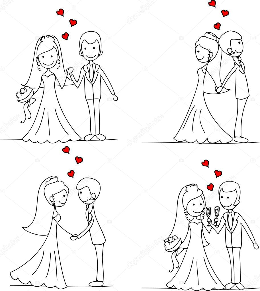 Set of wedding pictures, bride and groom in love, the vector — Stock Vector #14074358