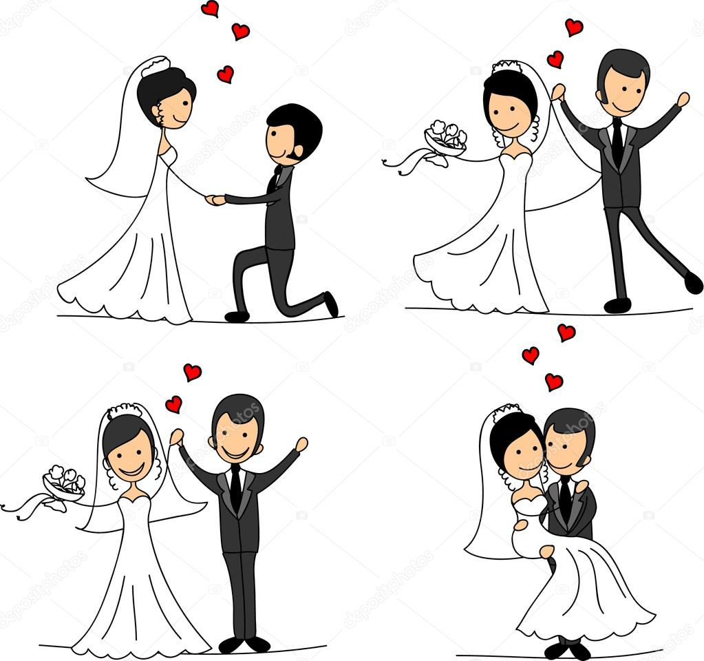 Set of wedding pictures, bride and groom in love, the vector — Stock Vector #14074366