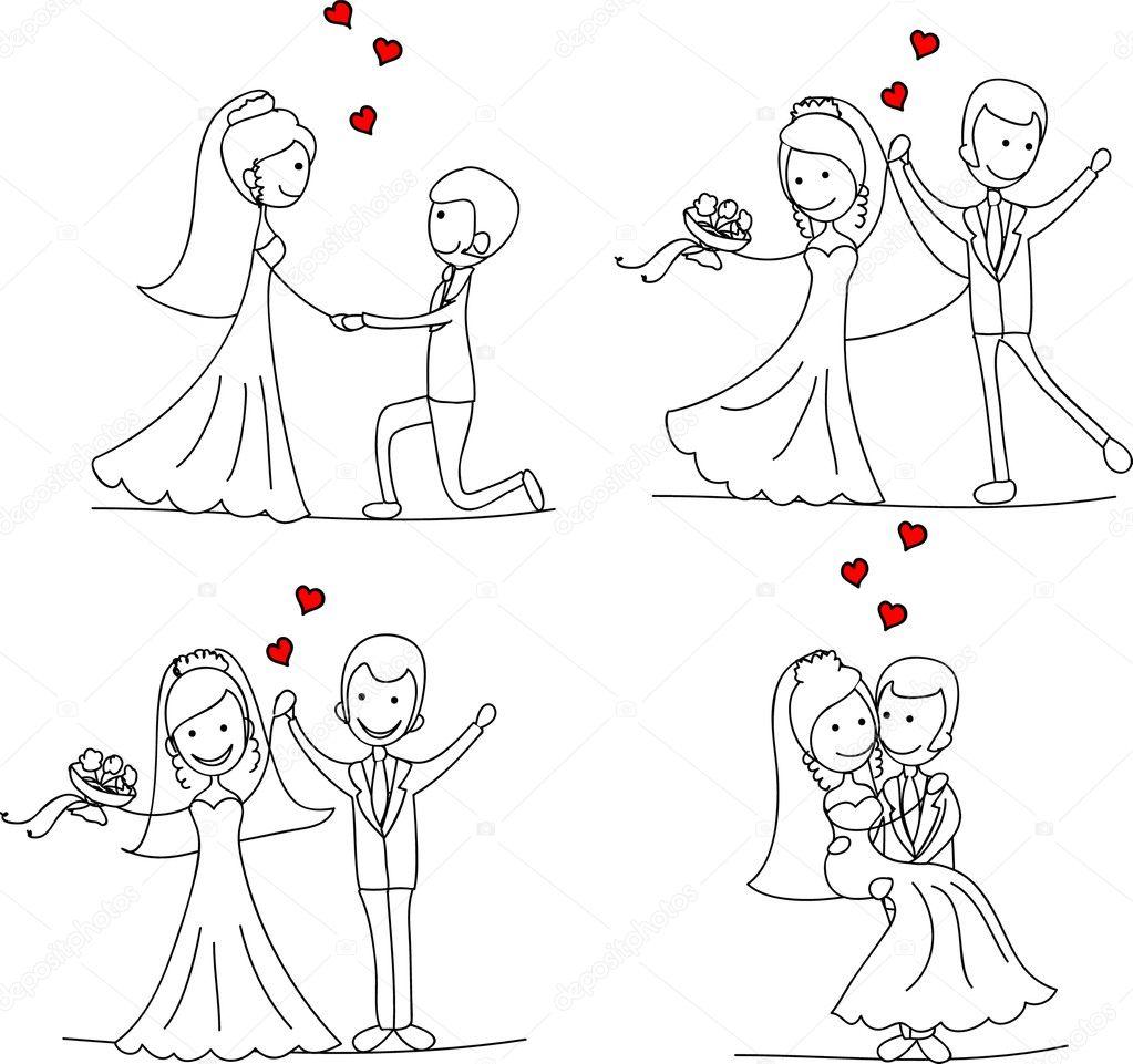 346Как нарисовать жениха с невестой карандашом поэтапно