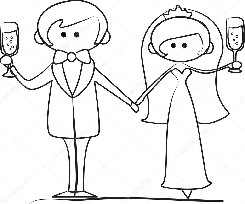 Matrimonio Catolico Para Dibujar : Fotos do casamento dos desenhos animados — vetor de stock