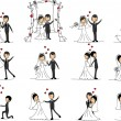 Set of wedding pictures, bride and groom in love, the vector — Stock Vector