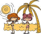 Cartoon girls on the beach — Stock Vector