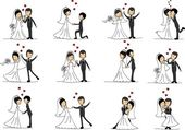 Set of wedding pictures, bride and groom in love, the vector — Stok Vektör