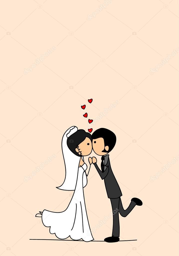 Novio y la novia de boda de dibujos animados \u2014 Archivo Imágenes Vectoriales 14447953