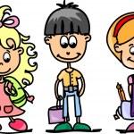 Cute schoolboys and schoolgirls, School elements — Stock Vector #14764235
