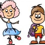 Cute schoolboys and schoolgirls, School elements — Stock Vector #14764281