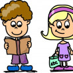 Cute schoolboys and schoolgirls, School elements — Stock Vector #14764329